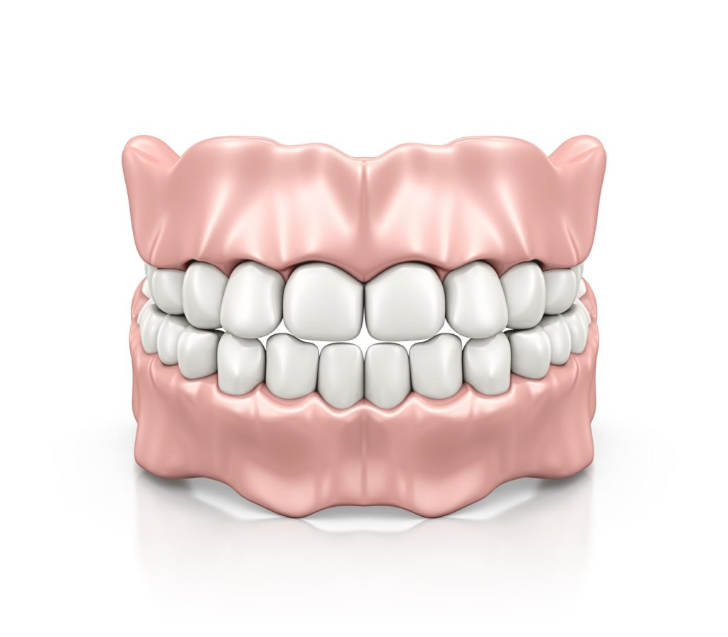 Illustration of a full set of dentures