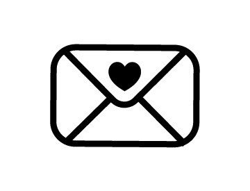 Line illustration of an envelope with a heart on the flap